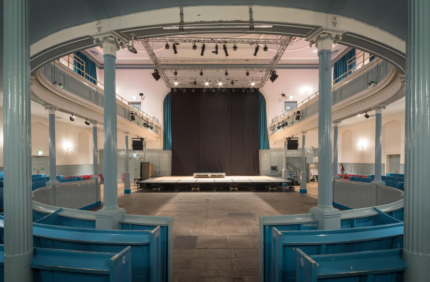 The Queen's Hall auditorium from stalls to stage laid out for standing gig