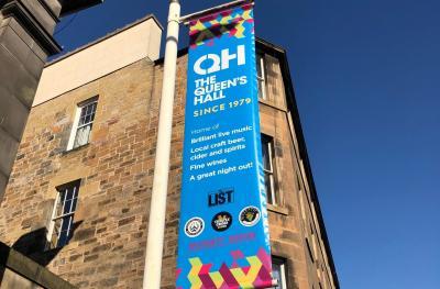 The Queen's Hall external banner August 2018