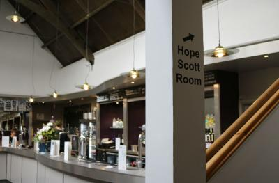 Extra seating is available upstairs in the Hope Scott Room