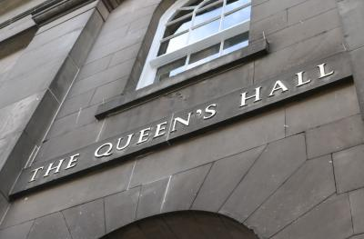 The Queen's Hall restored brass sign