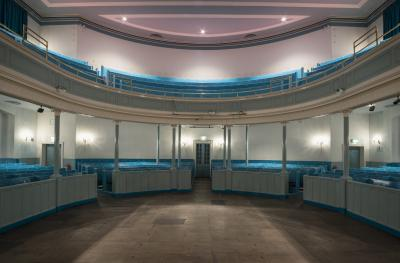 The Queen's Hall auditorium from stage to stalls laid out for standing gig